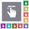 right handed scroll left gesture square flat icons - right handed scroll left gesture flat icons on simple color square backgrounds