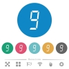 digital number nine of seven segment type flat round icons - digital number nine of seven segment type flat white icons on round color backgrounds. 6 bonus icons included.