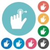 Left handed slide right gesture flat round icons - Left handed slide right gesture flat white icons on round color backgrounds