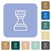 White chess rook rounded square flat icons - White chess rook white flat icons on color rounded square backgrounds