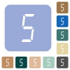 digital number five of seven segment type rounded square flat icons - digital number five of seven segment type white flat icons on color rounded square backgrounds