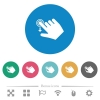 Right handed slide down gesture flat round icons - Right handed slide down gesture flat white icons on round color backgrounds. 6 bonus icons included.