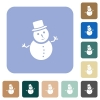 Snowman white flat icons on color rounded square backgrounds - Snowman rounded square flat icons