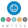 Winking emoticon flat white icons on round color backgrounds. 6 bonus icons included. - Winking emoticon flat round icons