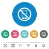 No smartphone flat round icons - No smartphone flat white icons on round color backgrounds. 6 bonus icons included.