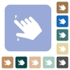 Right handed pinch open gesture rounded square flat icons - Right handed pinch open gesture white flat icons on color rounded square backgrounds