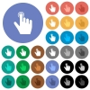 right handed clicking gesture round flat multi colored icons - right handed clicking gesture multi colored flat icons on round backgrounds. Included white, light and dark icon variations for hover and active status effects, and bonus shades.