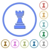 Black chess rook icons with shadows and outlines - Black chess rook flat color vector icons with shadows in round outlines on white background