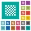 Chess board square flat multi colored icons - Chess board multi colored flat icons on plain square backgrounds. Included white and darker icon variations for hover or active effects.