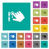 Right handed scroll down gesture square flat multi colored icons - Right handed scroll down gesture multi colored flat icons on plain square backgrounds. Included white and darker icon variations for hover or active effects.