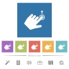 Left handed slide up gesture flat white icons in square backgrounds - Left handed slide up gesture flat white icons in square backgrounds. 6 bonus icons included.