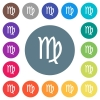 virgo zodiac symbol flat white icons on round color backgrounds - virgo zodiac symbol flat white icons on round color backgrounds. 17 background color variations are included.