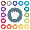 Left handed grab gesture flat white icons on round color backgrounds - Left handed grab gesture flat white icons on round color backgrounds. 17 background color variations are included.