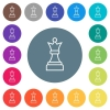 White chess queen flat white icons on round color backgrounds - White chess queen flat white icons on round color backgrounds. 17 background color variations are included.
