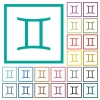 Gemini zodiac symbol flat color icons with quadrant frames - Gemini zodiac symbol flat color icons with quadrant frames on white background
