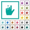 Left handed move left gesture flat color icons with quadrant frames - Left handed move left gesture flat color icons with quadrant frames on white background