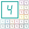digital number four of seven segment type flat color icons with quadrant frames - digital number four of seven segment type flat color icons with quadrant frames on white background