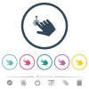 Right handed slide up gesture flat color icons in round outlines - Right handed slide up gesture flat color icons in round outlines. 6 bonus icons included.