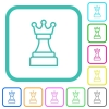 White chess queen vivid colored flat icons - White chess queen vivid colored flat icons in curved borders on white background