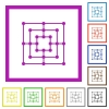 Nine men's morris game board flat color icons in square frames on white background - Nine men's morris game board flat framed icons