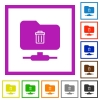 FTP delete flat framed icons - FTP delete flat color icons in square frames on white background