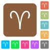 Aries zodiac symbol rounded square flat icons - Aries zodiac symbol flat icons on rounded square vivid color backgrounds.