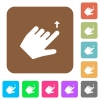Left handed move up gesture rounded square flat icons - Left handed move up gesture flat icons on rounded square vivid color backgrounds.