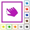 Right handed pinch close gesture flat framed icons - Right handed pinch close gesture flat color icons in square frames on white background