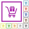 Gift shopping flat framed icons - Gift shopping flat color icons in square frames on white background