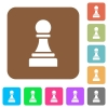 Black chess pawn rounded square flat icons - Black chess pawn flat icons on rounded square vivid color backgrounds.