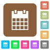 Single calendar rounded square flat icons - Single calendar flat icons on rounded square vivid color backgrounds.