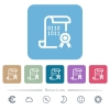 Digital certificate white flat icons on color rounded square backgrounds. 6 bonus icons included - Digital certificate flat icons on color rounded square backgrounds