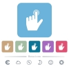 left handed clicking gesture flat icons on color rounded square backgrounds - left handed clicking gesture white flat icons on color rounded square backgrounds. 6 bonus icons included