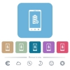 Mobile battery settings flat icons on color rounded square backgrounds - Mobile battery settings white flat icons on color rounded square backgrounds. 6 bonus icons included