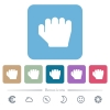 Right handed grab gesture flat icons on color rounded square backgrounds - Right handed grab gesture white flat icons on color rounded square backgrounds. 6 bonus icons included