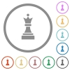 Black chess queen flat icons with outlines - Black chess queen flat color icons in round outlines on white background