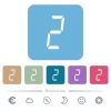 digital number two of seven segment type flat icons on color rounded square backgrounds - digital number two of seven segment type white flat icons on color rounded square backgrounds. 6 bonus icons included