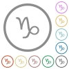 Capricorn zodiac symbol flat icons with outlines - Capricorn zodiac symbol flat color icons in round outlines on white background