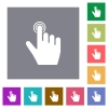 right handed clicking gesture square flat icons - right handed clicking gesture flat icons on simple color square backgrounds