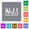 Toolbox square flat icons - Toolbox flat icons on simple color square backgrounds