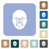 Face recognition rounded square flat icons - Face recognition white flat icons on color rounded square backgrounds