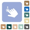 Right handed slide up gesture rounded square flat icons - Right handed slide up gesture white flat icons on color rounded square backgrounds