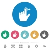 Left handed slide right gesture flat round icons - Left handed slide right gesture flat white icons on round color backgrounds. 6 bonus icons included.
