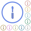 Single screwdriver icons with shadows and outlines - Single screwdriver flat color vector icons with shadows in round outlines on white background