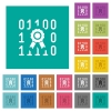 Digital certificate square flat multi colored icons - Digital certificate multi colored flat icons on plain square backgrounds. Included white and darker icon variations for hover or active effects.