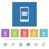 Smartphone incoming message flat white icons in square backgrounds - Smartphone incoming message flat white icons in square backgrounds. 6 bonus icons included.