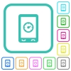 Mobile benchmark vivid colored flat icons - Mobile benchmark vivid colored flat icons in curved borders on white background
