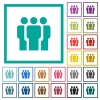 Team flat color icons with quadrant frames - Team flat color icons with quadrant frames on white background