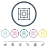 Nine men's morris game board flat color icons in round outlines - Nine men's morris game board flat color icons in round outlines. 6 bonus icons included.