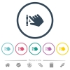 Right handed scroll down gesture flat color icons in round outlines - Right handed scroll down gesture flat color icons in round outlines. 6 bonus icons included.
